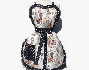 Apron Retro Inspired Day of the Dead / Dia de Los Muertos Skull  Full Apron FREE SHIPPING