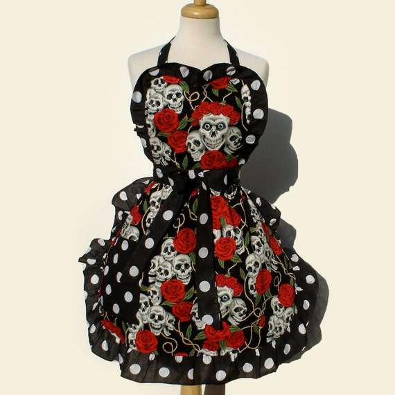 Apron Vintage Inspired Tattoo Art Skull Apron FREE SHIPPING