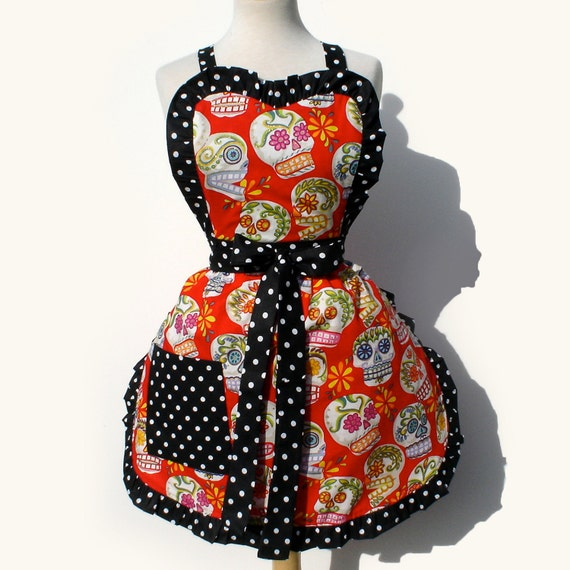 Apron  Mexican Sugar Skulls  Day Of The Dead Retro Inspired Full Apron FREE SHIPPING