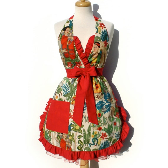Apron Frida Vintage Inspired Mexican Apron FREE SHIPPING