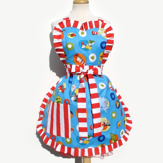 Dr. Seuss Blue and Red  Apron  FREE SHIPPING