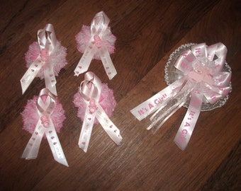 """Custom  Pink  """"Its a girl """" Baby shower  in a box corsage &25   pinons/capias sign centerpieces"""