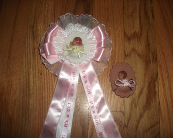 Custom  pink  baby shower corsage