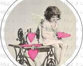 182 sewing VINTAGE VICTORIAN valentine hearts  digital collage button bottle cap bottlecap pdf  7/8 1 1/4 1 1/2 2 1/4 3 1.25 1.5 2.25 inch