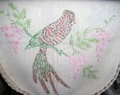 Antique Dresser Scarf Table Runner Beautiful Bird Embroidery