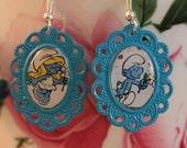Smurf cameo earrings