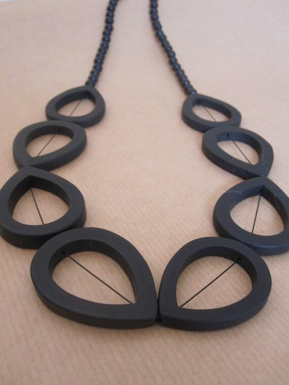 Statement necklace Brazilian black stone - Australian jewellery - geometric