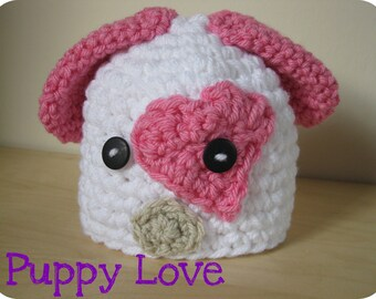 Puppy Love Hat, 0-3MO size, made to order,  photography prop or great gift.