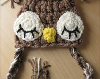 0-3 MO size, boys style Owl Hat made to order  photography prop or great gift.