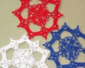 Three Patriotic Crocheted Doilies