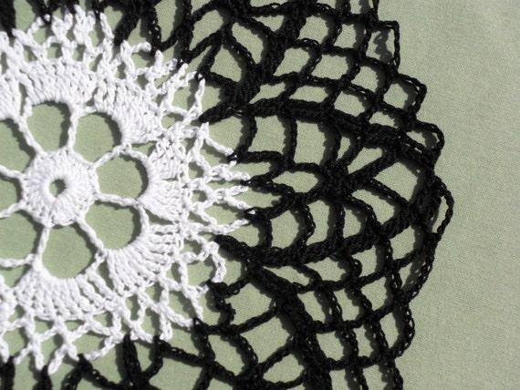 Black & White Round Crocheted Doily