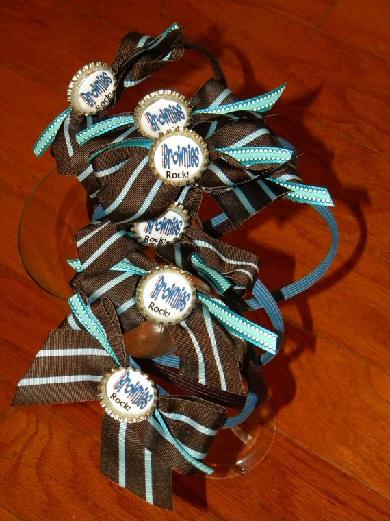 BROWNIE Girl Scouts Headbands with BOTTLECAP Centers --Sale--  by Mama Duck Creations