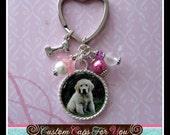 Custom Pet Photo, Memory Photo Necklace Or Keychain With Dog Bone Charm, Animal, Dog, Cat