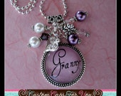 PERSONALIZED Granny, Gran, Mom, Name or Initial Purple Bezel With Glass Dome Pendant Necklace Or Keychain With Matching Beads