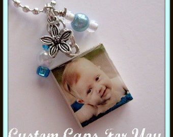 CUSTOM Photo Scrabble Tile Pendant Necklace With Matching Beads And Charm