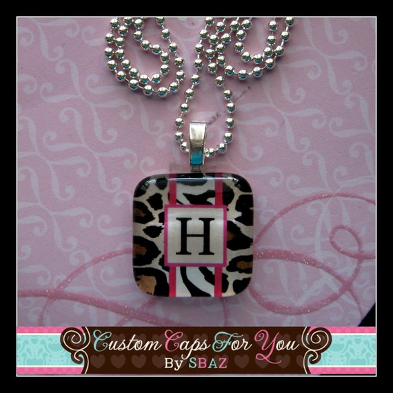 CUSTOM PERSONALIZED  Initial Glass Tile Pendant Necklace In Leopard And  Zebra  With Hot Pink Accents
