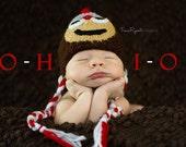 Newborn photo prop, Ohio State Buckeyes newborn/ baby hat. newborn boy, newborn knit hat, newborn girl prop, newborn props, photo props