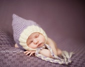 Newborn photo prop, Lavender mohair bonnet newborn/ baby hat.  8 colors available, newborn boy, newborn girl, newborn hat