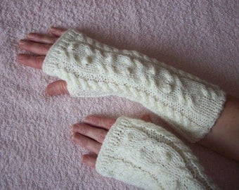 Cream long fingerless mittens with a cable pattern, knitted gloves handmade Warm, Warmers Women Gloves , knitted fingerless gloves