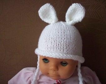 newborn photo prop, newborn hat, bunny newborn/ baby hat in white, photography props, newborn boy, newborn girl, baby hat, newborn knit hat