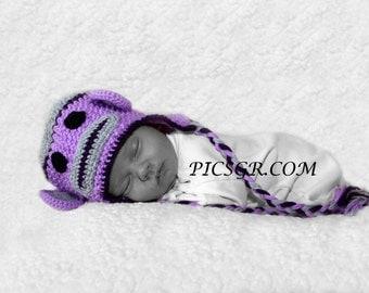 Newborn photo prop, monkey newborn/ baby hat, newborn girl, newborn hat, newborn boy, newborn knit hat
