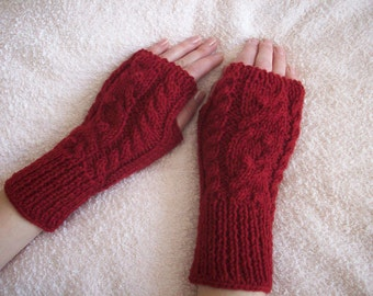 Dark red fingerless mittens with a cable pattern, Fingerless gloves, Hand warmers, Women knit warmers
