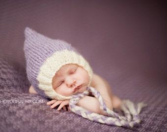 Newborn photo prop, Lavender mohair bonnet newborn/ baby hat.  8 colors available, newborn boy, newborn girl, newborn hat