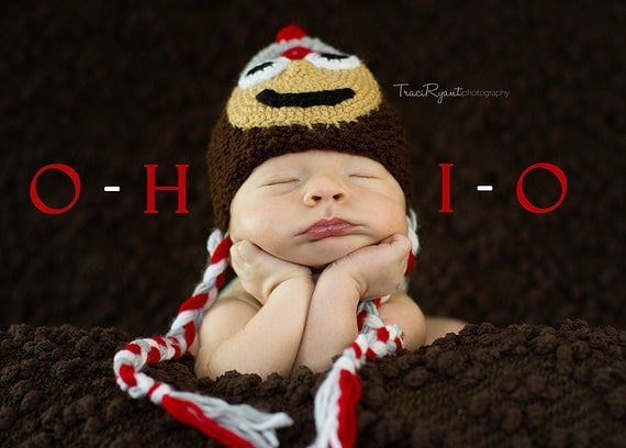 Newborn photo prop, Ohio State Buckeyes newborn/ baby hat. newborn boy, newborn knit hat, newborn girl prop, newborn props, photo props