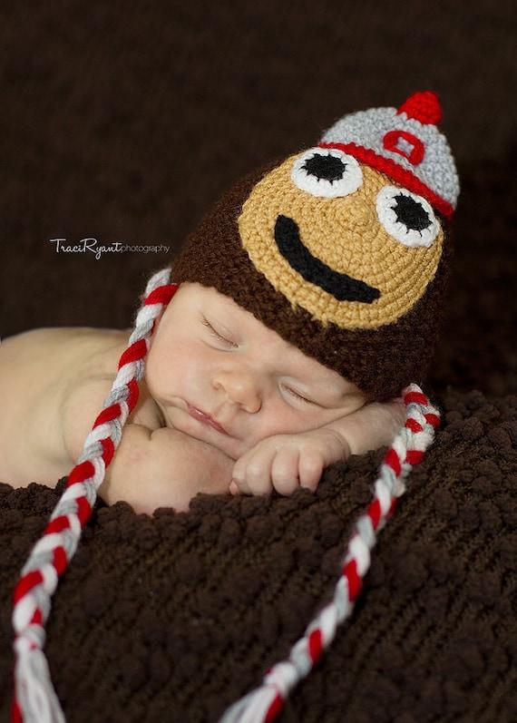 Newborn photo prop, Ohio State Buckeyes newborn/ baby hat, newborn hat, newborn boy, newborn props, baby hat,newborn knit hat, newborn girl