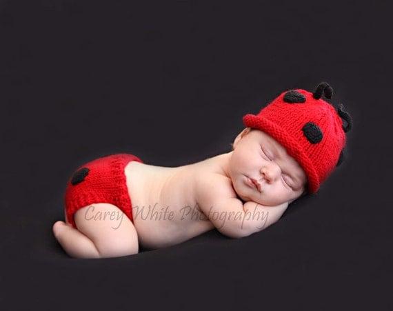 newborn photo prop, newborn set,  lady bug newborn/ baby diaper cover and hat set, photography props, newborn hat, newborn girl, baby knits