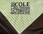 Personalized Birth Announcement Baby Blanket Minky Satin Stroller Size 30x36 Inches - Green Stripes and Brown