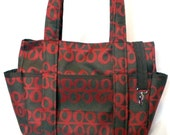 SALE CLEARANCE Diaper Bag Tote Large Nappy Brown Red Modern Carryall