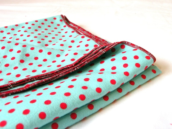 Baby Receiving Blanket Large Flannel Swaddle Aqua Blue and Red