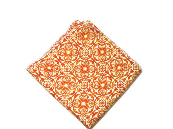Large Flannel Receiving Blanket Baby Orange and White