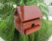 Exterior Bird House - Wooden Rosewood Colored Birdhouse