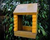 Antiqued Golden Bird Feeder - All Wooden Gold Pillared Birdfeeder