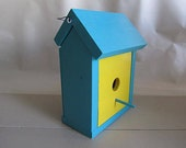 Turquoise Wedding Table Bird House Decoration - Bright Yellow Front Solid Wooden Bird House