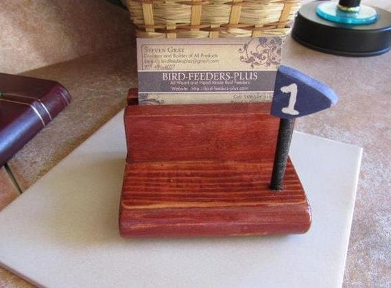 Chestnut Stained Golf Lover Business Card Holder