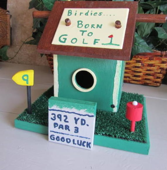 Golf Decor Bird House Golf Green Yellow Red Chestnut Birdhouse
