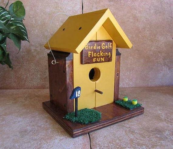 Wooden Bird House, Handmade Golf Birdhouse, Golden Stained Golfers Dream Bird Houses