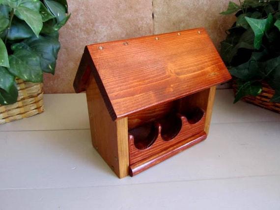 Wooden Bird Feeder Handmade Cozy Warm Birdfeeder Smoked Cherry Stain