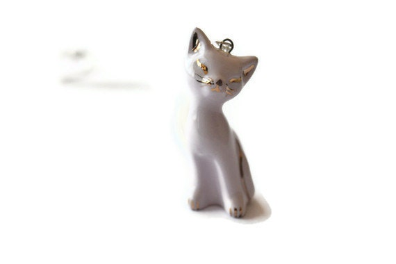 Purple and Gold - ceramic handmade kitten, cat necklace, pastel purple with 18K gold paint outlines / silver plated chain