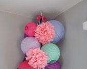 Customizable Large Pom-Pom, Ribbon, and Paper Lantern Mobiles