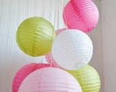 Pinks, White, and Chartreuse Paper Lantern Balloon Mobile