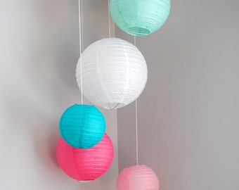 Robin Egg, Teal, Pink, Pale Pink, and White Paper Lantern Mobile