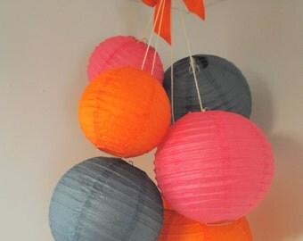 Pink, Orange, and Grey Mini Paper Lantern Balloon Mobile