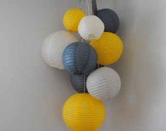 Grey, Yellow, and Ivory Large Paper Lantern Balloon Mobile
