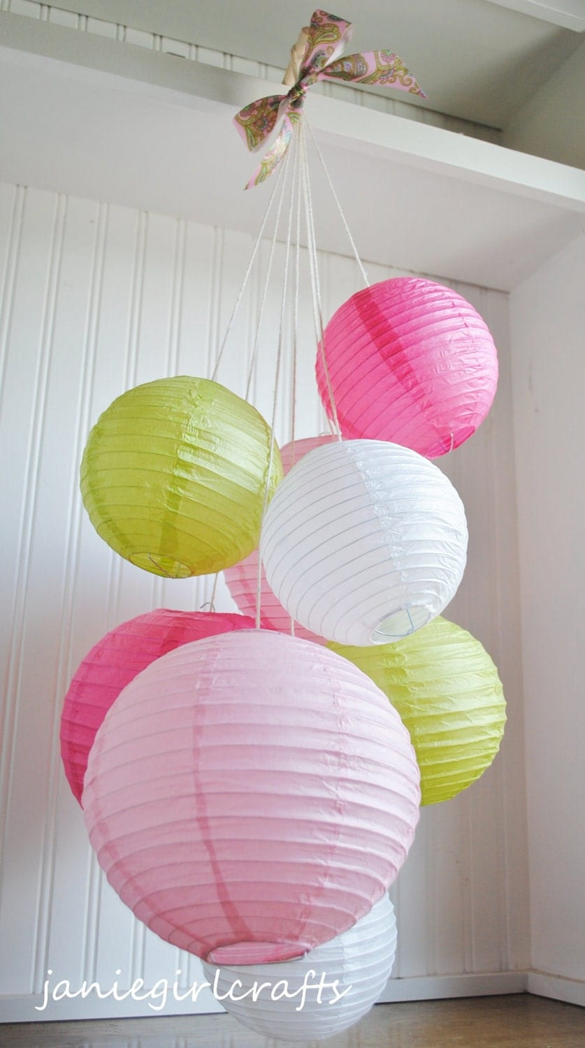 Pinks White And Chartreuse Paper Lantern Balloon Mobile