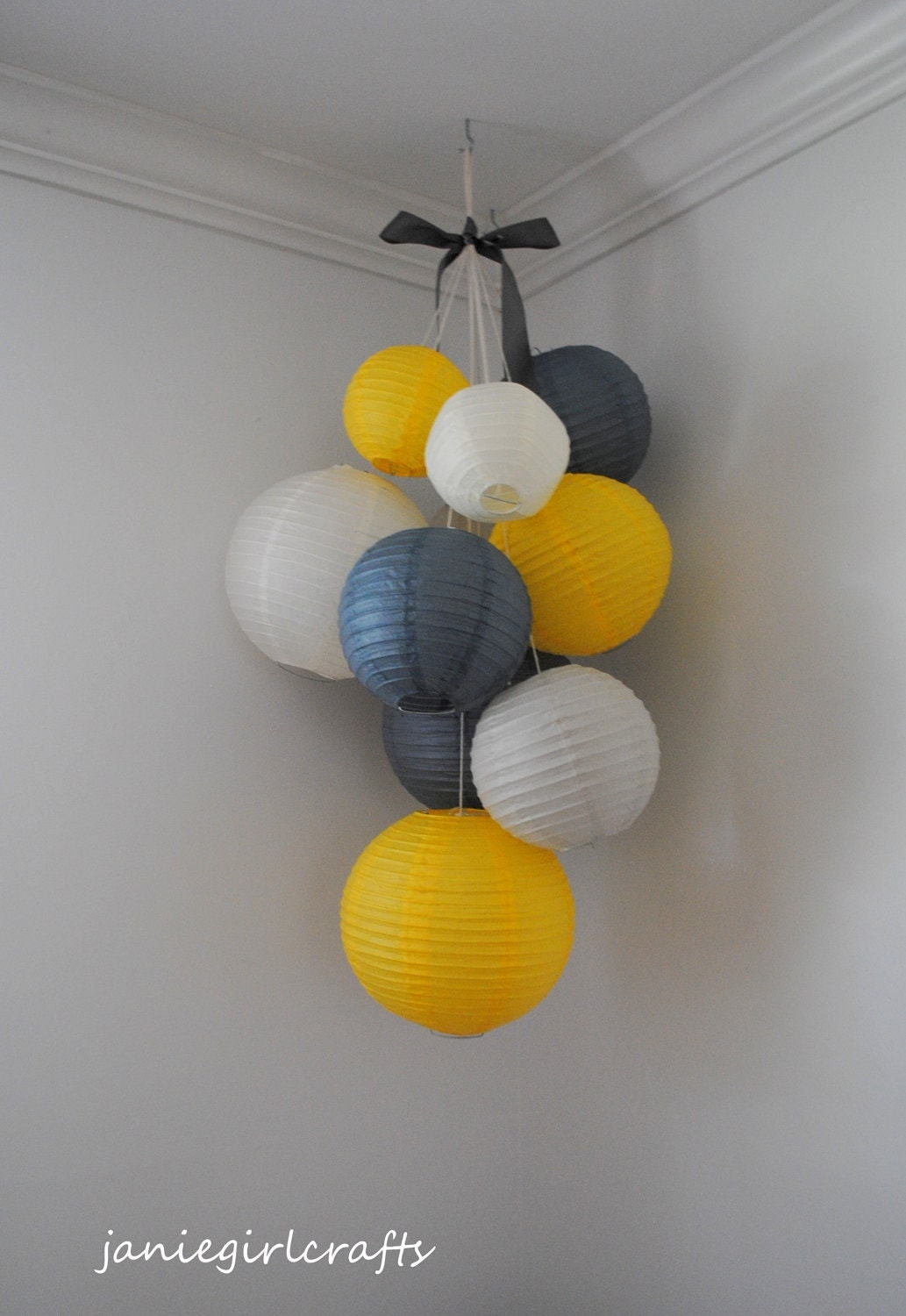 Grey Yellow And Ivory Large Paper Lantern Balloon Mobile
