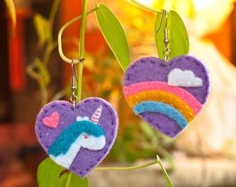 Unicorn and Rainbow Earrings Lolita Fairy Kei Magical Girly Style